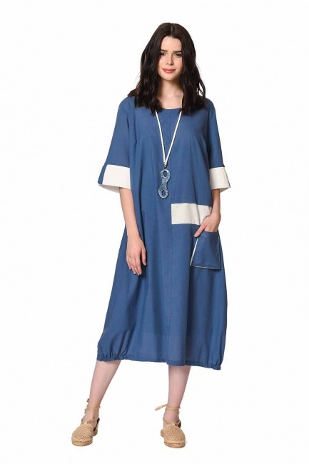 MIZALLE Side Pocket Bohemian Dress (Indigo)
