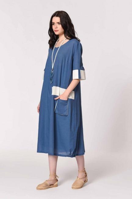 Side Pocket Bohemian Dress (Indigo) - Thumbnail