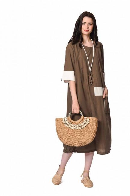 MIZALLE Yan Cep Detaylı Salaş Elbise (Koyu Vizon)