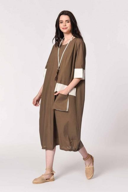 Yan Cep Detaylı Salaş Elbise (Koyu Vizon) - Thumbnail