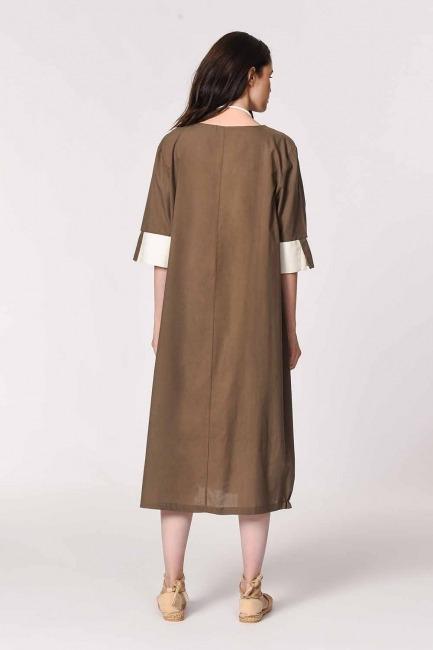 MIZALLE - Yan Cep Detaylı Salaş Elbise (Koyu Vizon) (1)