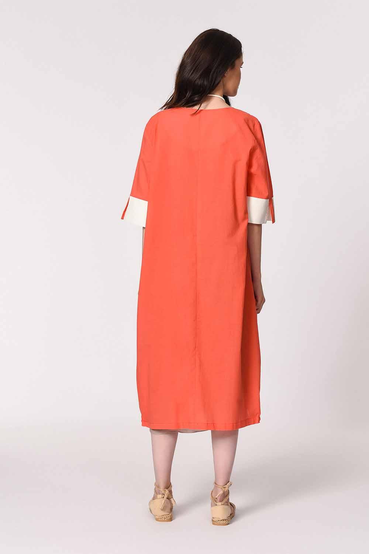 MIZALLE فستان فضفاض مع تفاصيل الجيب الجانبية (المرجان) (1)