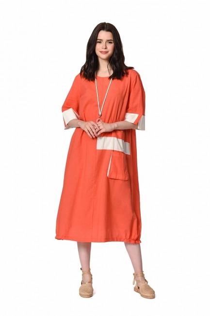 MIZALLE Yan Cep Detaylı Salaş Elbise (Mercan)