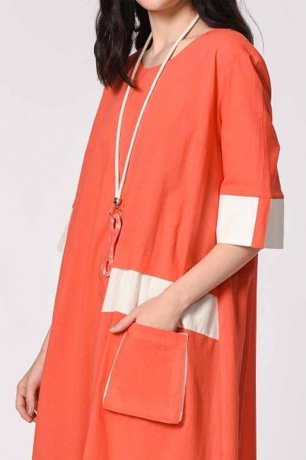 Side Pocket Bohemian Dress (Coral) - Thumbnail