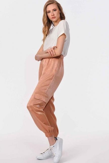 Mizalle - Yan Cepli Premium Pantolon (Bej)