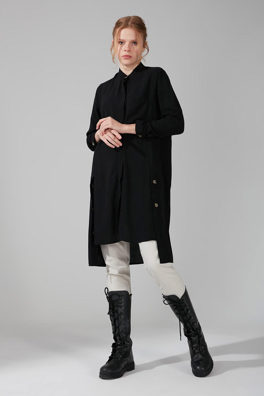 Mizalle - Yan Düğmeli Tunik (Siyah)