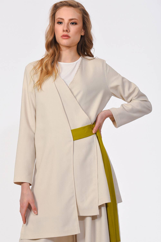 Yandan Bağlamalı Kimono (Bej)