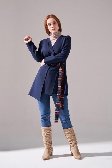 Mizalle - Yandan Bağlamalı Kimono (Lacivert)