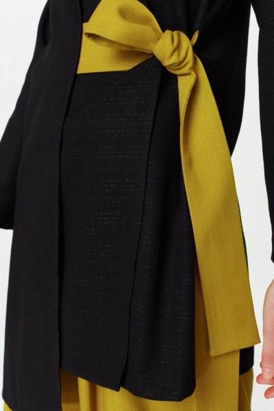 كيمونو مع تجليد جانبي (أسود) - Thumbnail