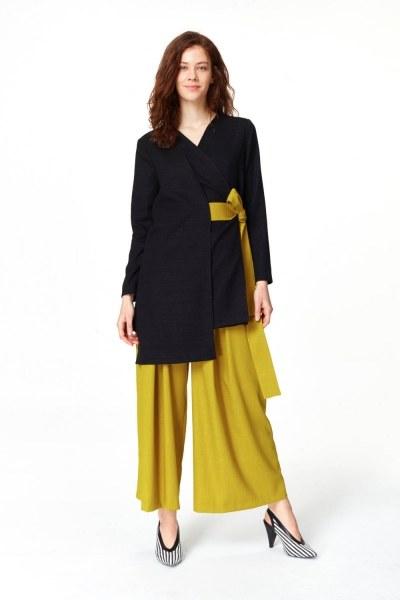 MIZALLE Yandan Bağlamalı Kimono (Siyah)