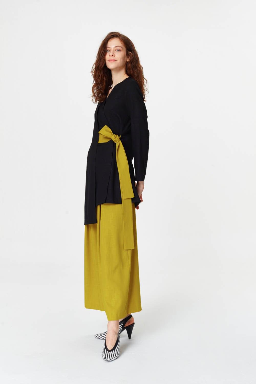 MIZALLE Yandan Bağlamalı Kimono (Siyah) (1)