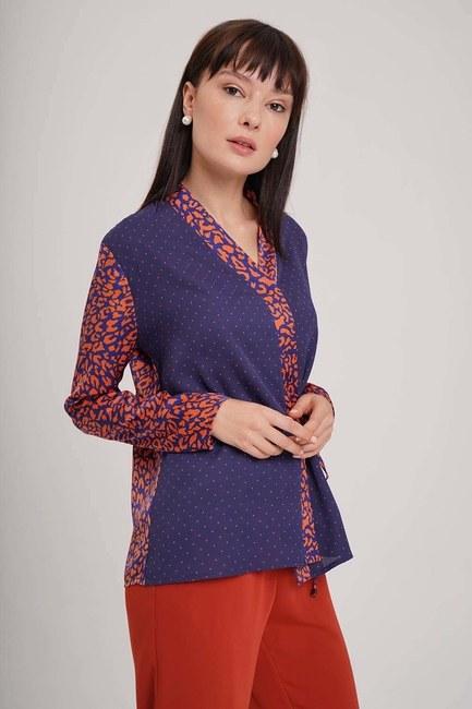 MIZALLE - Yandan Bağlı Desenli Bluz (Lacivert) (1)