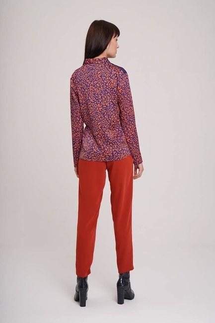 Yandan Bağlı Desenli Bluz (Lacivert) - Thumbnail