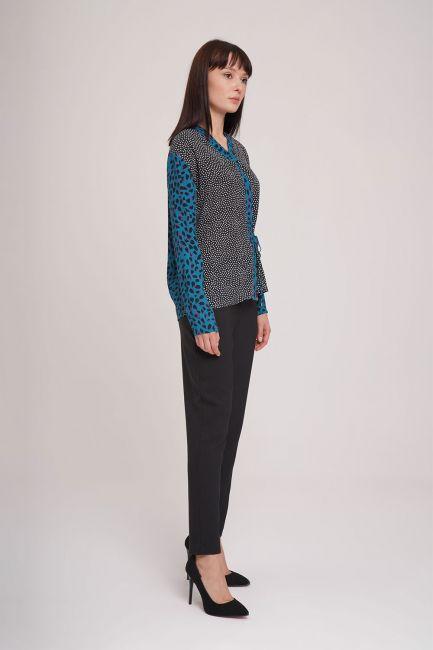 Yandan Bağlı Desenli Bluz (Siyah) - Thumbnail