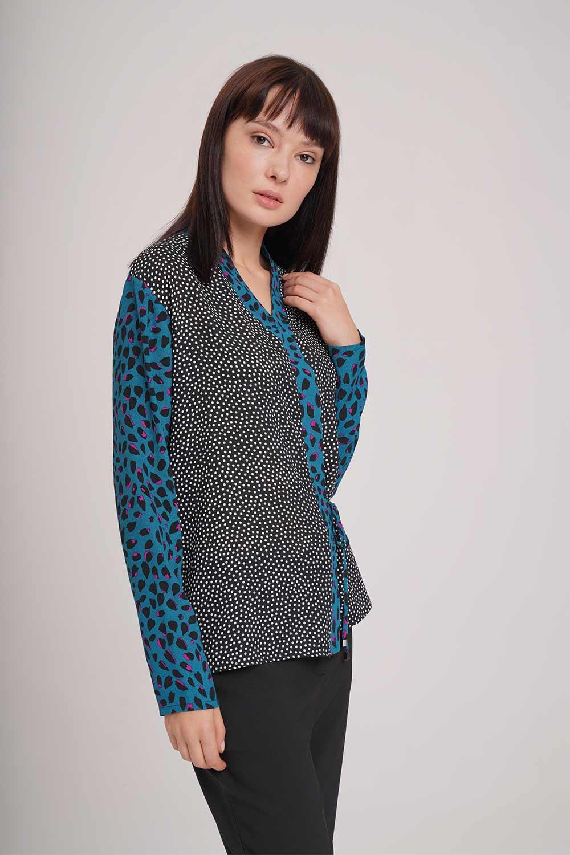 Yandan Bağlı Desenli Bluz (Siyah)