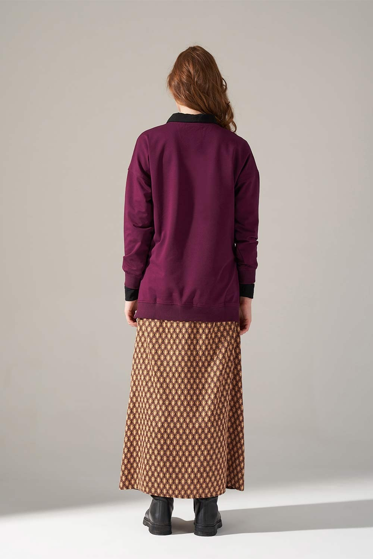 Yandan Fermuarlı Bordo Sweatshirt