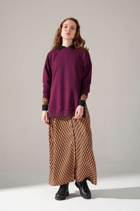 Yandan Fermuarlı Sweatshirt (Bordo)