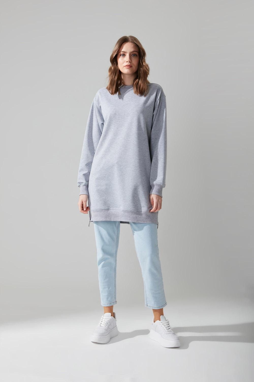 Yandan Fermuarlı Gri Sweatshirt