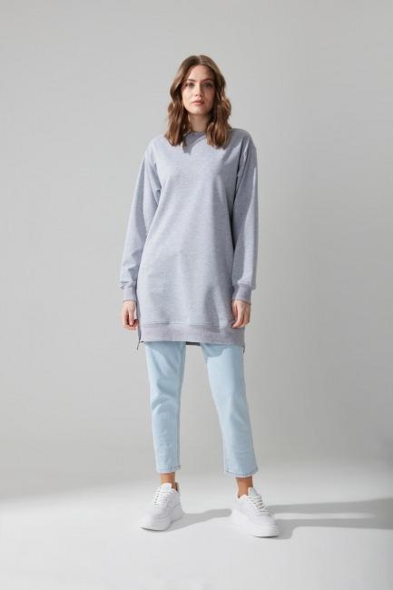 Mizalle - Yandan Fermuarlı Sweatshirt (Gri)