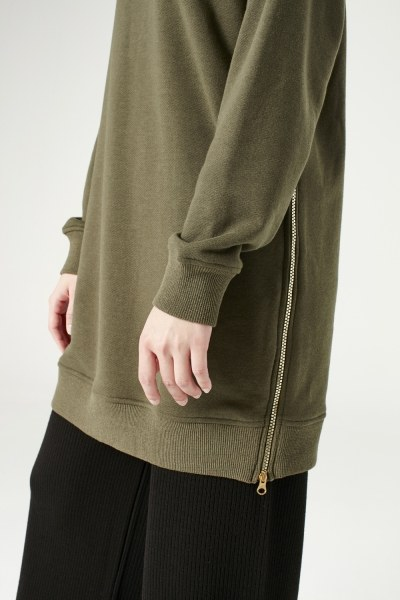 Sideward Zipped Sweatshirt (Khaki) - Thumbnail