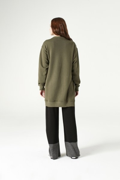 Yandan Fermuarlı Sweatshirt (Haki) - Thumbnail
