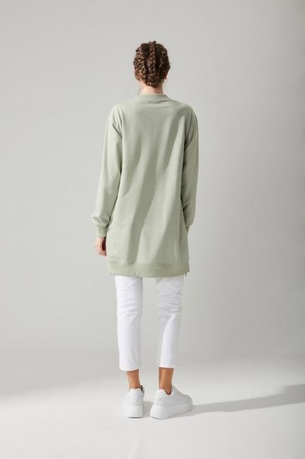 Yandan Fermuarlı Mint Sweatshirt - Thumbnail