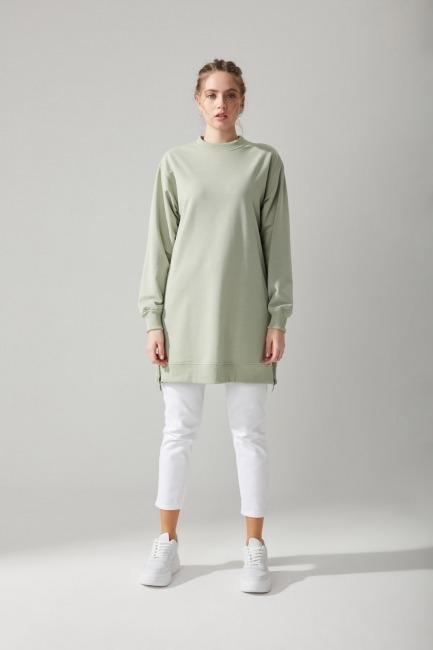 Mizalle - Yandan Fermuarlı Mint Sweatshirt