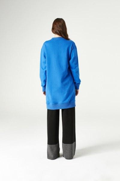 Yandan Fermuarlı Sweatshirt (Saks) - Thumbnail