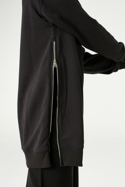 Sideward Zipped Sweatshirt (Black) - Thumbnail