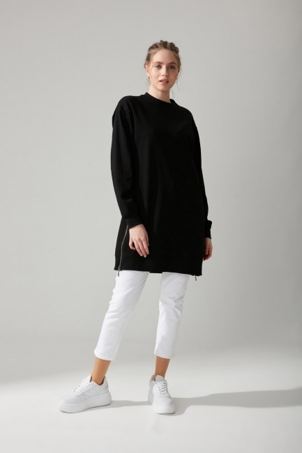 Mizalle - Yandan Fermuarlı Sweatshirt (Siyah)