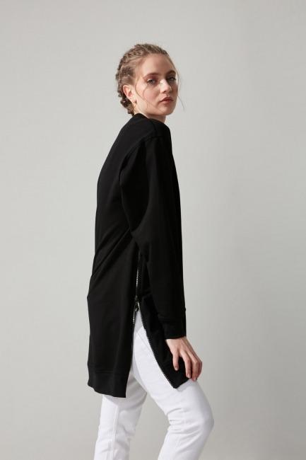 Yandan Fermuarlı Siyah Sweatshirt - Thumbnail
