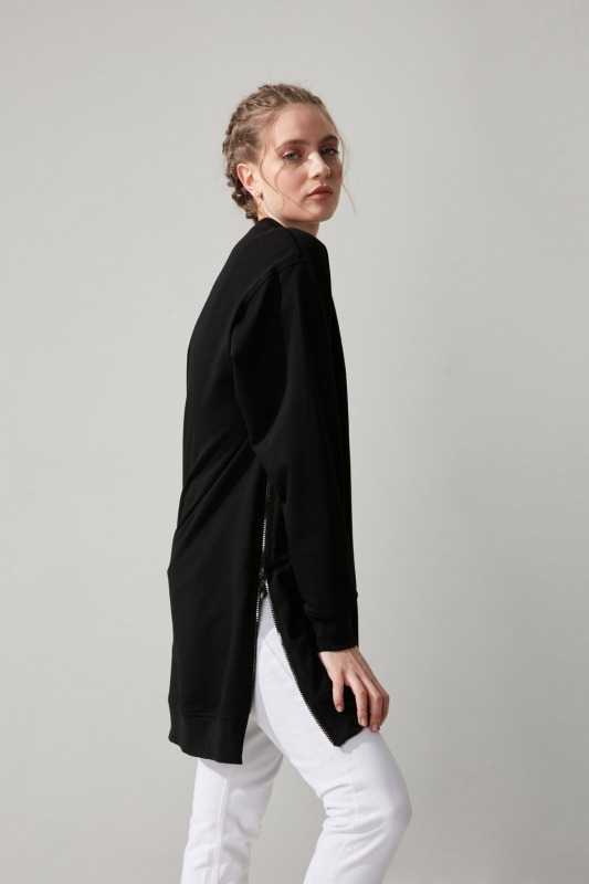 Yandan Fermuarlı Siyah Sweatshirt