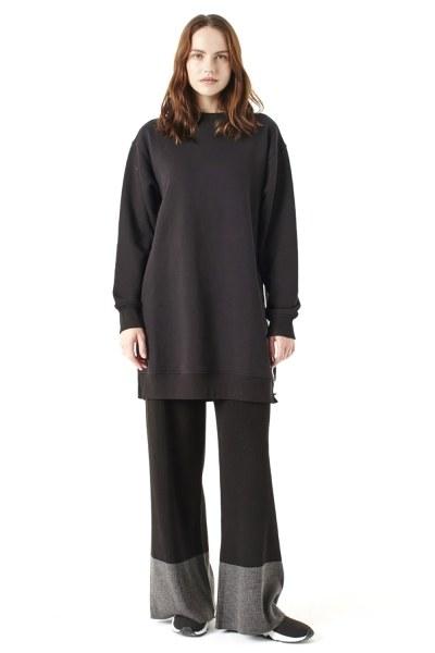 Yandan Fermuarlı Sweatshirt (Siyah) - Thumbnail
