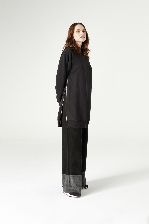 MIZALLE Yandan Fermuarlı Sweatshirt (Siyah) (1)