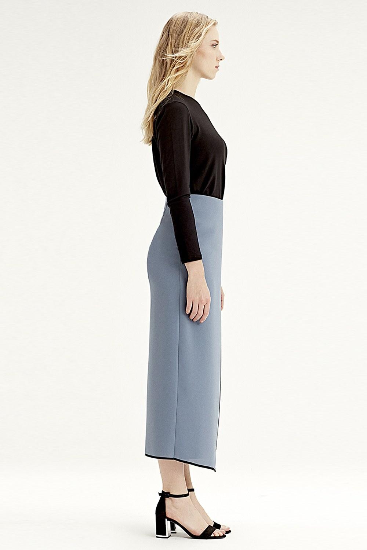 MIZALLE Side-Belted Skirt (Indigo) (1)