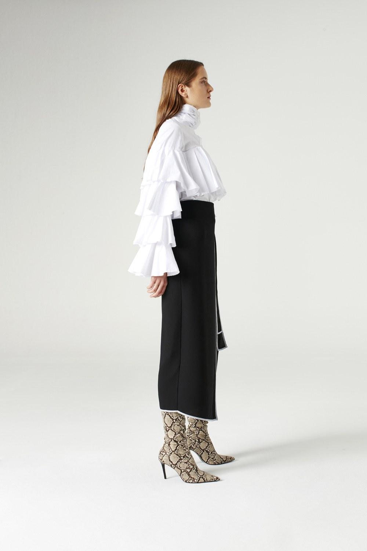 MIZALLE تنورة بحزام جانبي (أسود) (1)