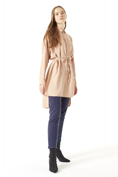 MIZALLE Side Slit Tunic (Brown)
