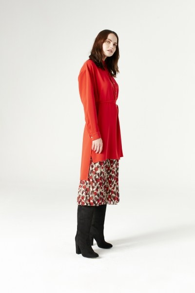 Side Slit Tunic (Vermilion) - Thumbnail
