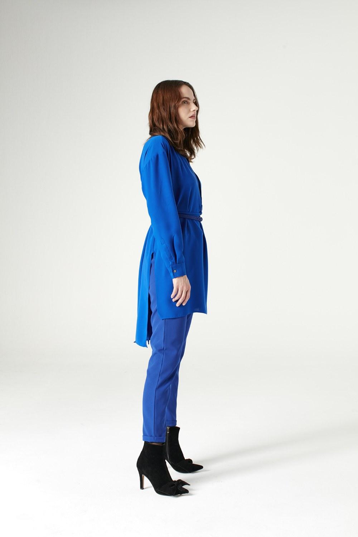 MIZALLE تونيك قصير من الأمام و طويل من الخلف (أزرق ساكس) (1)