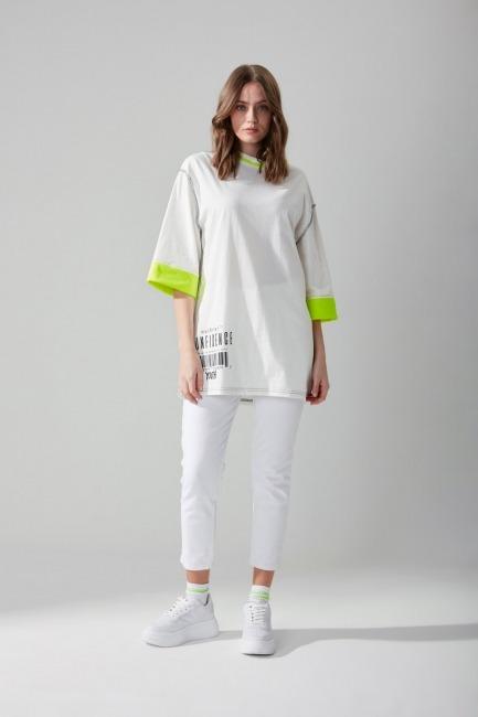 Mizalle - Yazı Baskılı Beyaz T-shirt