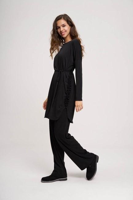 Mizalle - Yanı Büzgülü Sandy Kumaş Siyah Tunik