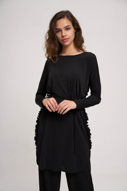 MIZALLE YOUTH - Pleated Fabric Tunic (Black) (1)