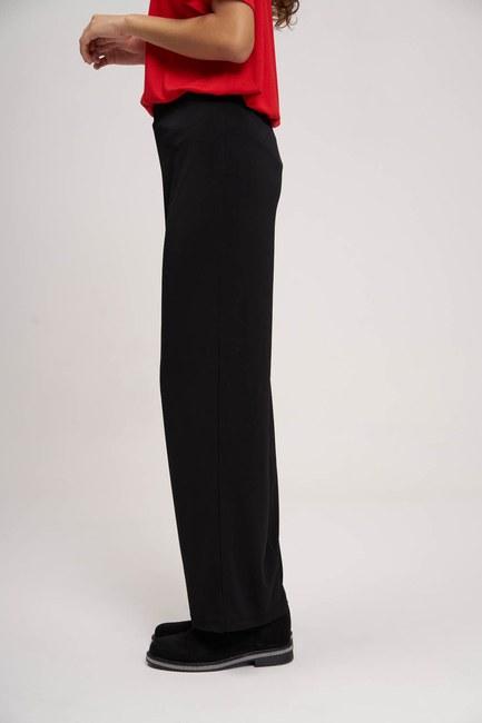 Yanı Büzgülü Sandy Kumaş Pantolon (Siyah) - Thumbnail