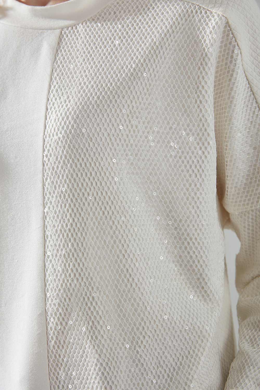 Yanı Pul Parça Detaylı Ekru Sweatshirt