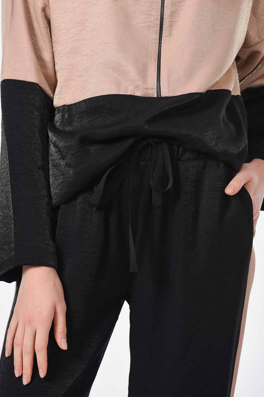 MIZALLE سروال لونين مع مخطط جانبي (أسود / بيج) (1)