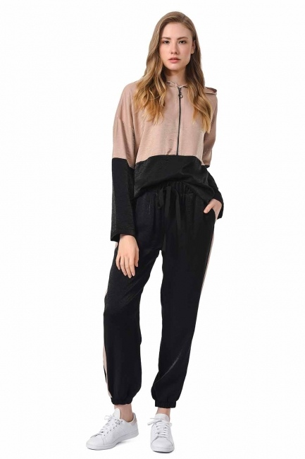 سروال لونين مع مخطط جانبي (أسود / بيج) - Thumbnail