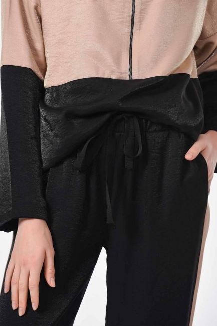 Yanı Şeritli 2 Renkli Pantolon (Siyah/Bej) - Thumbnail