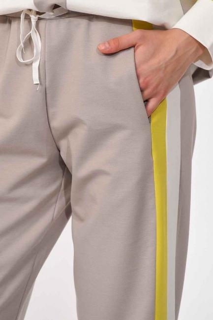 MIZALLE - Yanı Şeritli Pantolon (Bej/Fıstık) (1)