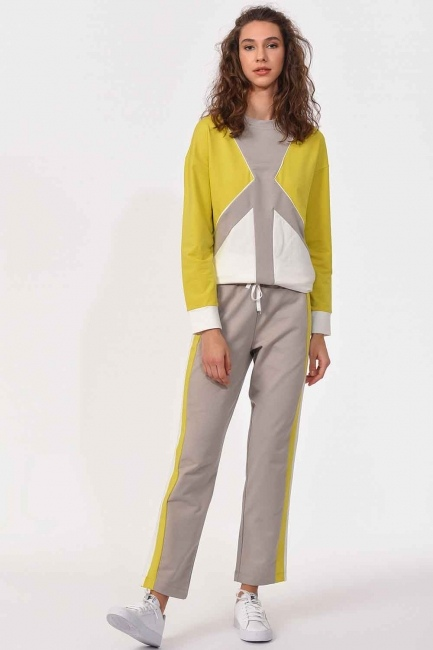 MIZALLE - Side Striped Trousers (Beige/Green) (1)