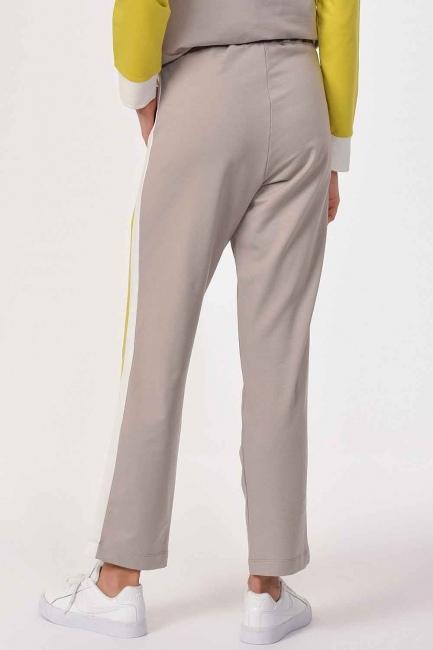 Yanı Şeritli Pantolon (Bej/Fıstık) - Thumbnail